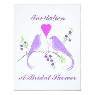 """Invitaciones nupciales de la ducha de los pájaros invitación 4.25"""" x 5.5"""""""