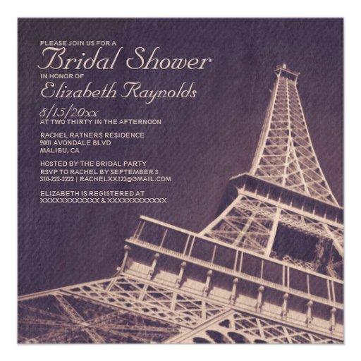 Invitaciones nupciales de la ducha de París del vi Anuncio
