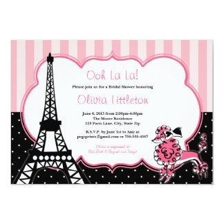 """Invitaciones nupciales de la ducha de París - rosa Invitación 5"""" X 7"""""""