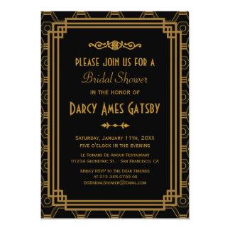 Invitaciones nupciales de la ducha del art déco invitación 12,7 x 17,8 cm