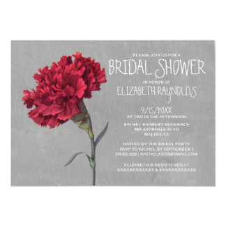 Invitaciones nupciales de la ducha del clavel comunicado personalizado