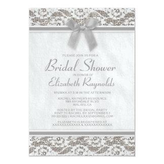 Invitaciones nupciales de la ducha del cordón gris invitación 12,7 x 17,8 cm