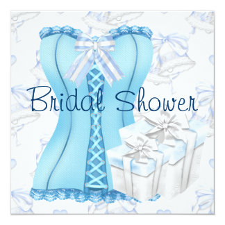 """Invitaciones nupciales de la ducha del corsé azul invitación 5.25"""" x 5.25"""""""
