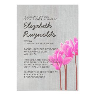 """Invitaciones nupciales de la ducha del Cyclamen Invitación 5"""" X 7"""""""