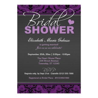 Invitaciones nupciales de la ducha del damasco osc