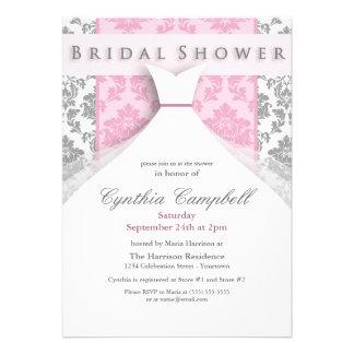 Invitaciones nupciales de la ducha del damasco ros anuncio