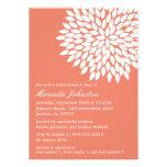 Invitaciones nupciales de la ducha del diseño flor comunicado personalizado