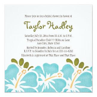 Invitaciones nupciales de la ducha del hibisco invitación 13,3 cm x 13,3cm