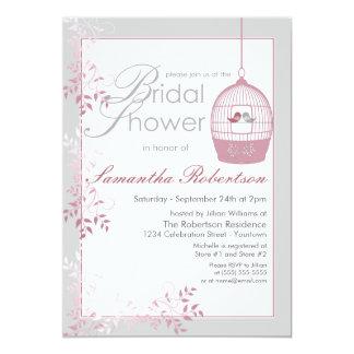 Invitaciones nupciales de la ducha del rosa de los invitación 12,7 x 17,8 cm