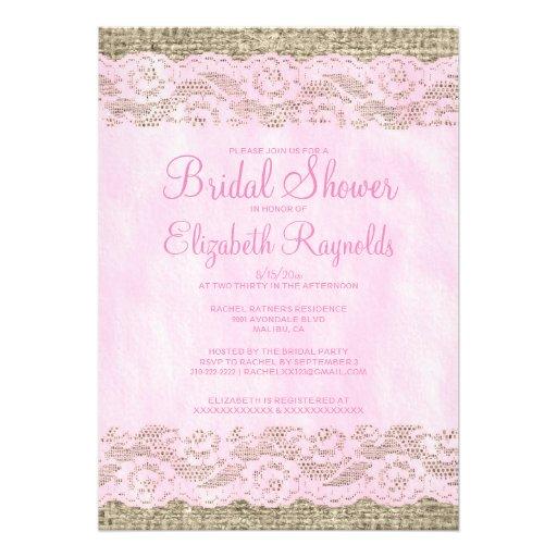 Invitaciones nupciales de la ducha del rosa y blan anuncios personalizados