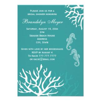 Invitaciones nupciales de la ducha del Seahorse de