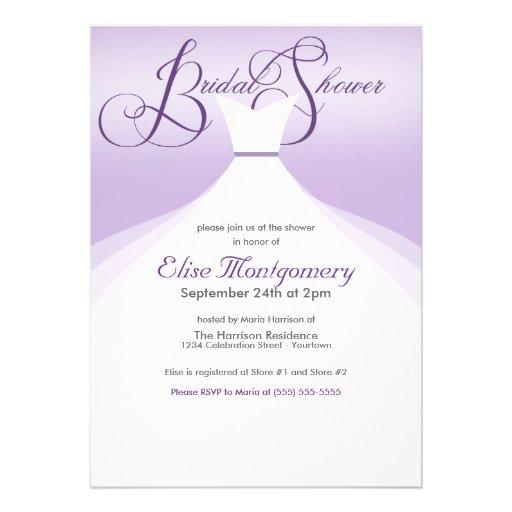 Invitaciones nupciales de la ducha del vestido pre comunicado personal