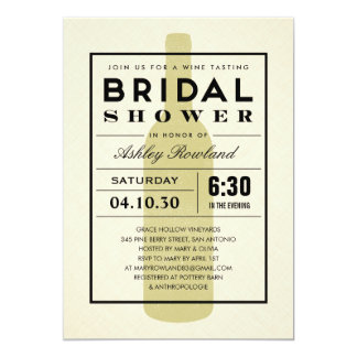 Invitaciones nupciales de la ducha del vino invitación 12,7 x 17,8 cm