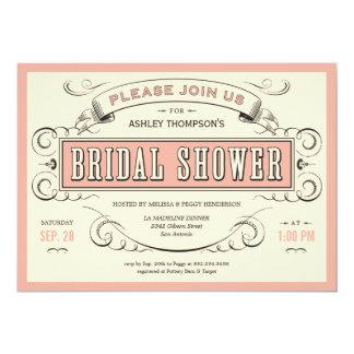 Invitaciones nupciales de la ducha del vintage invitación 12,7 x 17,8 cm
