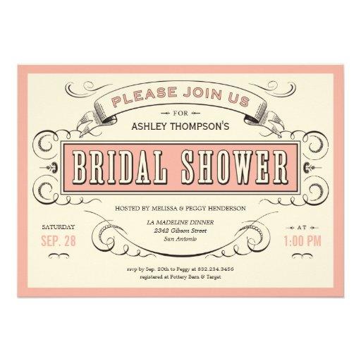 Invitaciones nupciales de la ducha del vintage úni comunicados