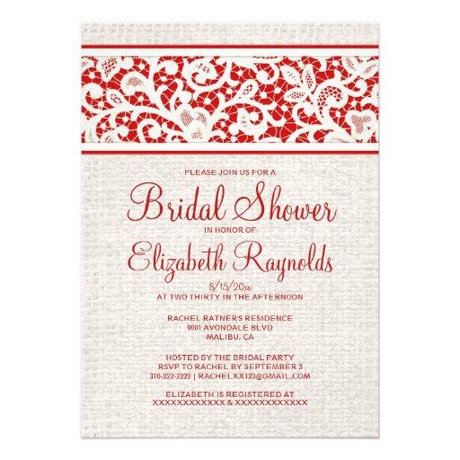 Invitaciones nupciales de lino de la ducha de la a invitación