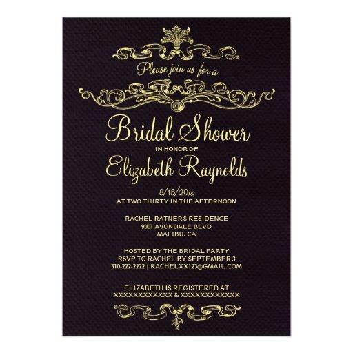 Invitaciones nupciales de lujo de la ducha del neg invitacion personal