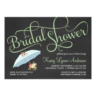 Invitaciones nupciales del paraguas de la ducha de comunicado personalizado