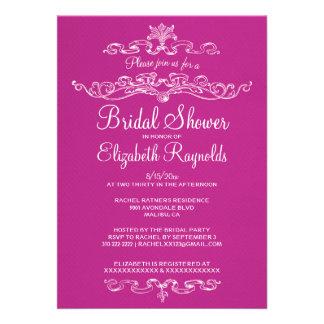 Invitaciones nupciales fucsias de lujo de la ducha