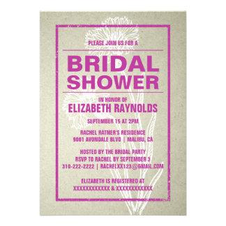 Invitaciones nupciales fucsias rústicas de la duch