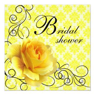 Invitaciones nupciales negras de la ducha del rosa invitación 13,3 cm x 13,3cm