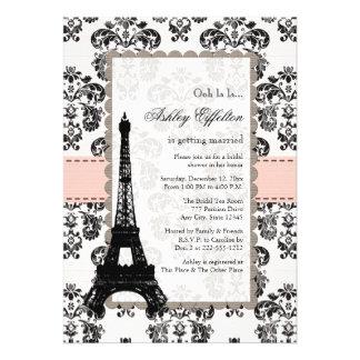 Invitaciones nupciales negras rosadas parisienses  comunicados personales