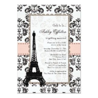 """Invitaciones nupciales negras rosadas parisienses invitación 5"""" x 7"""""""