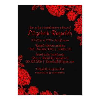 Invitaciones nupciales negras y rojas elegantes de invitación 12,7 x 17,8 cm