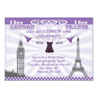 Invitaciones nupciales púrpuras de la ducha de invitación 12,7 x 17,8 cm