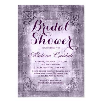 Invitaciones nupciales púrpuras de la ducha del invitación 11,4 x 15,8 cm