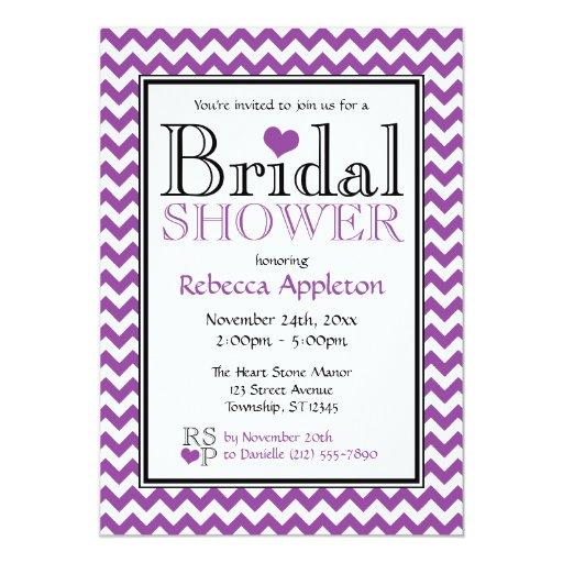 Invitaciones nupciales púrpuras y blancas de invitación 12,7 x 17,8 cm