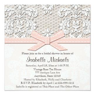 """Invitaciones nupciales rosadas de la ducha de la invitación 5.25"""" x 5.25"""""""