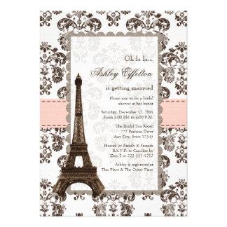 Invitaciones nupciales rosadas parisienses de la d invitación