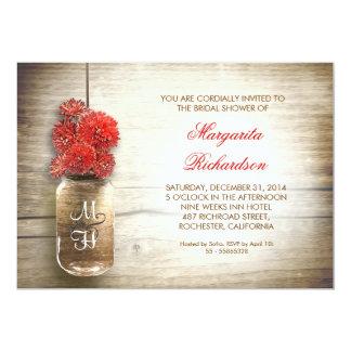 invitaciones nupciales rústicas de la ducha del invitación 12,7 x 17,8 cm