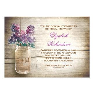 invitaciones nupciales rústicas de la ducha del ta