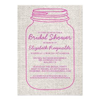 Invitaciones nupciales rústicas fucsias de la duch