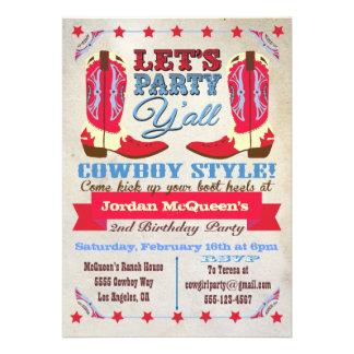 Invitaciones occidentales de la fiesta de cumpleañ