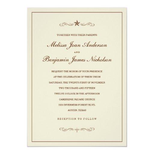 """Invitaciones occidentales del boda de la estrella invitación 5"""" x 7"""""""