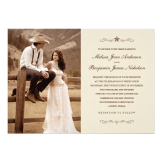 Invitaciones occidentales del boda de la foto del