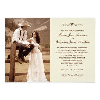 """Invitaciones occidentales del boda de la foto del invitación 5"""" x 7"""""""