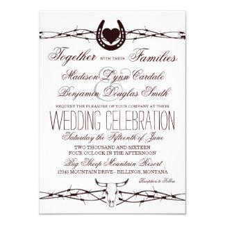 """Invitaciones occidentales del boda del alambre de invitación 4.5"""" x 6.25"""""""