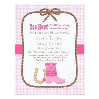"""Invitaciones occidentales rosadas elegantes de la invitación 4.25"""" x 5.5"""""""