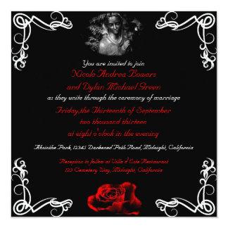 """Invitaciones oscuras de encargo del boda del invitación 5.25"""" x 5.25"""""""