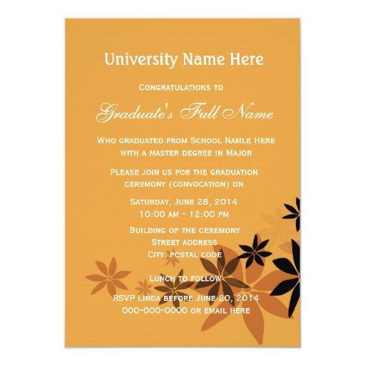 """Invitaciones para la ceremonia de graduación invitación 5"""" x 7"""""""