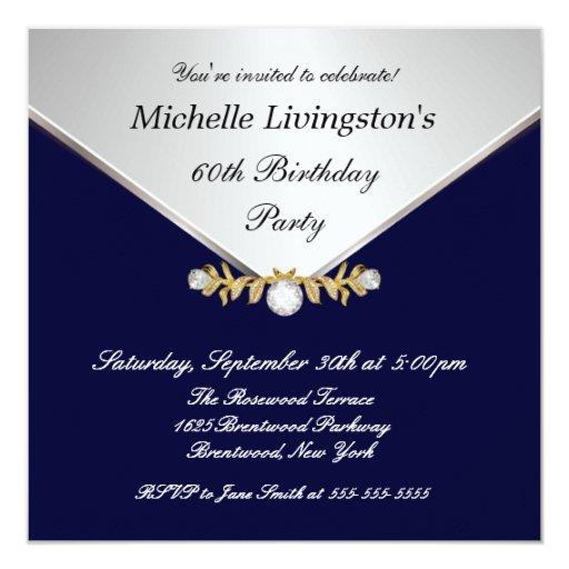 Invitaciones para mujer del diamante de los azules invitación 13,3 cm x 13,3cm