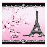 Invitaciones parisienses rosadas del boda de la invitación 13,3 cm x 13,3cm