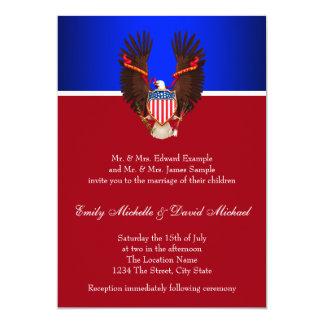 Invitaciones patrióticas del rojo, blancas y invitación 12,7 x 17,8 cm
