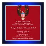 Invitaciones patrióticas del rojo, blancas y comunicado personalizado