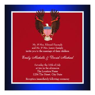 Invitaciones patrióticas del rojo, blancas y invitación 13,3 cm x 13,3cm