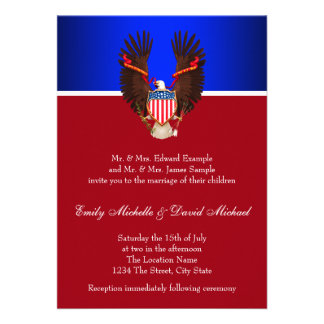 Invitaciones patrióticas del rojo, blancas y azule anuncios personalizados